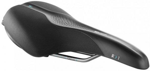 Седло Selle Royal SCIENTIA R1 Relaxed, 3D skingel, обивка Black gummy/Black mokka, 289х169мм, 479г, рейлы сталь + Curva suspension, unisex, чёрное
