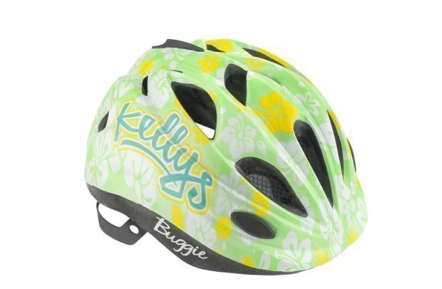Шлем детский Buggie зелёный цветок, размер S/M