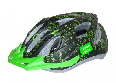 Шлем детский Green Cycle Fast Five размер 50-56см черно-зеленый