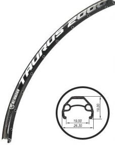 """Обод 27,5"""" Weinmann Taurus 2000 disc, 650Bx2,125 X36H, анодир., пистон., под диск. тормоз,черный"""